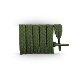 Flat trainers green army cotton shoe laces length 120 cm