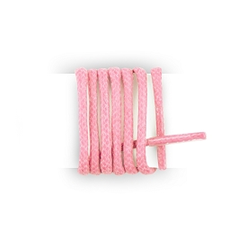 Pair of thin round waxed shoelaces made of 100% cotton, clove pink shoelaces length 180 cm