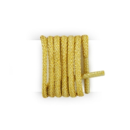 Pair of thin round shoelaces made of lurex gold shoelaces length 120 cm